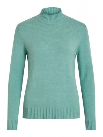 Vila Oil Blue Viril L/s Turtleneck Knit Top-noos