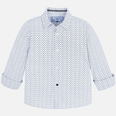 Mayoral Blue L/s Printed Shirt