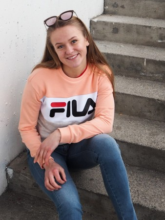 Fila Light Grey Melange Bros-salmon-bright White Women Leah Crew Sweat