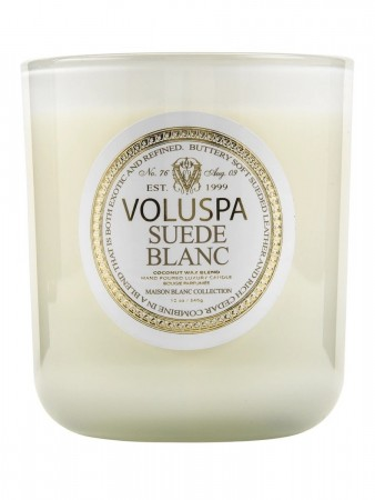 Voluspa Boxed Candle 80 Tim Suede Blanc
