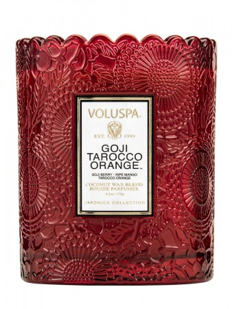 Voluspa Boxed Scalloped Edge Candle Goji Tarocco Orange