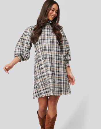 Na-kd Brown - High Neck Puff Sleeve Check Dress  Brown