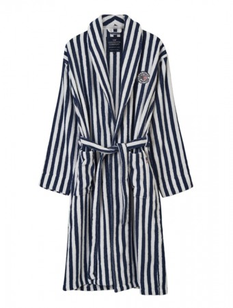 Lexington Blue/white Striped Terry Robe