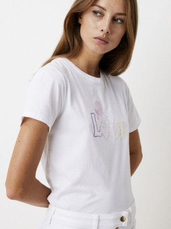Lois White - Perfect Tee Embroid Pastel - White