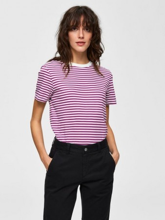 Selected Femme Clover Slfmy Perfect Ss Tee Box Cut-stri Color