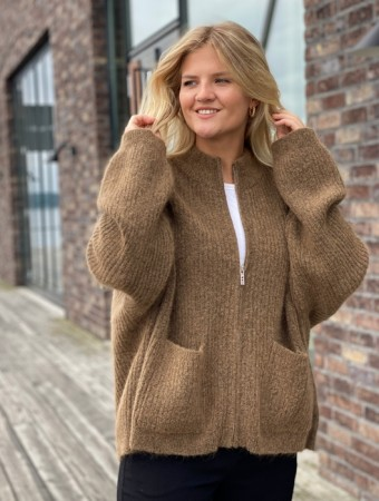 Holzweiler Light Brown Penguin Knit Cardigan - FORHÅNDSBESTILLING