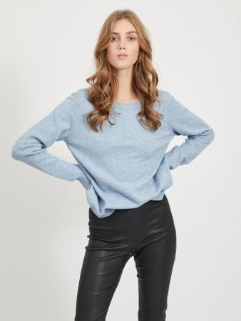 Vila Ashley Blue Viril L/s O-neck Knit Top-noos
