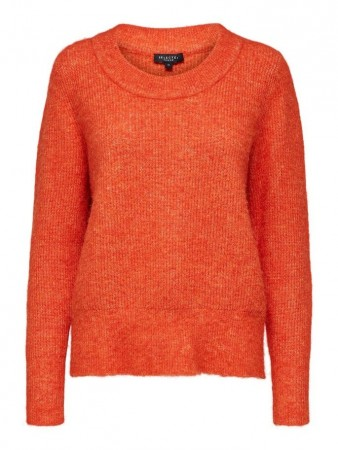 Selected Femme Orange - Slfsif Ls Knit O-neck B