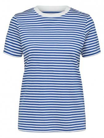 Selected Femme Dazzling Blue Slfmy Perfect Ss Tee Box Cut-stri. Noos