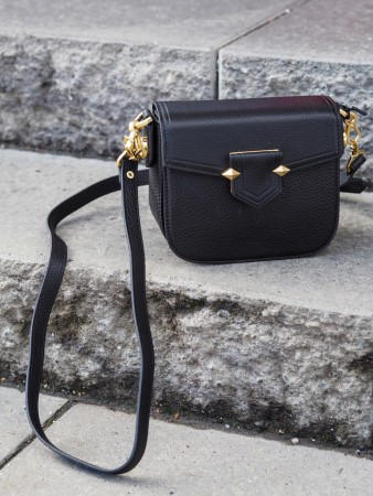 Pourchet Noir Cowhide Leather Flap Crossbody