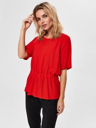 Selected Femme True Red Slftanna Ss Top B