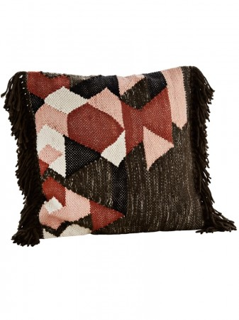 Madamstoltz Brown/black/off White/dusty Rose/pacotton Cushion Cover W/ Fringes 50x50