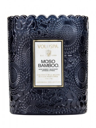 Voluspa Boxed Scalloped Edge Candle 50tim Moso Bamboo