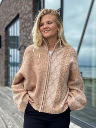 Holzweiler Camel Tine Cable Knit Cardigan