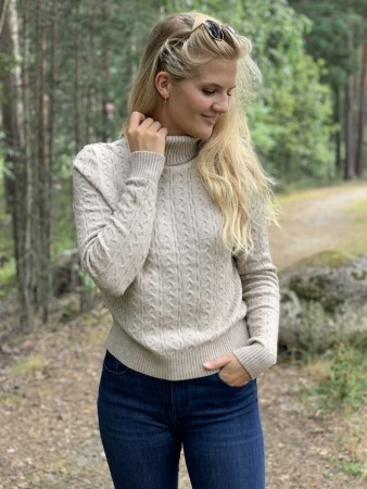 Vila Natural Melange Viril Knit L/s Rollneck Cable Top Ki