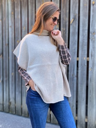 Dear Dharma Beige Wool Haley Poncho