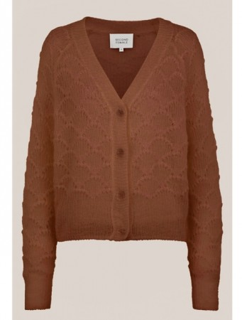 Second Female Carob Brown Palm Knit Cardigan