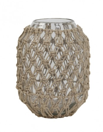 Light And Living -  Natur Narona Glass Clear+jute  ø16x21cm