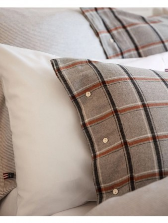 Lexington Gray/white/rust Check Checked Flannel Pillowcase 50x70