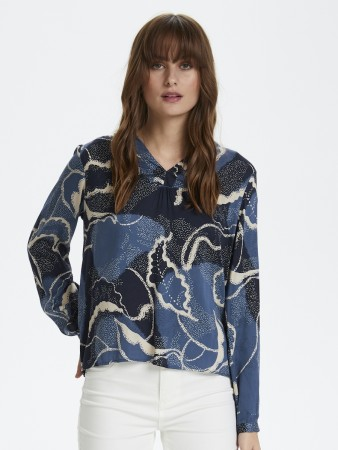 Culture Blue Iris Cushania Leaf Blouse