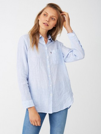 Lexington Blue/white Stripe Isa Linen Shirt