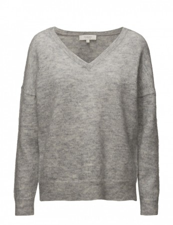 Selected Femme Light Grey Melange Slfivana Ls Knit V-neck Noos