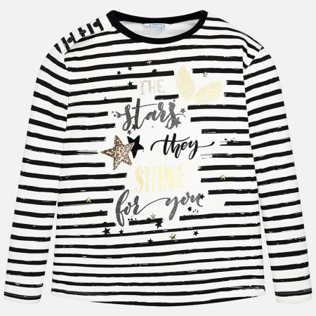 Mayoral Black L/s Stripes T-shirt