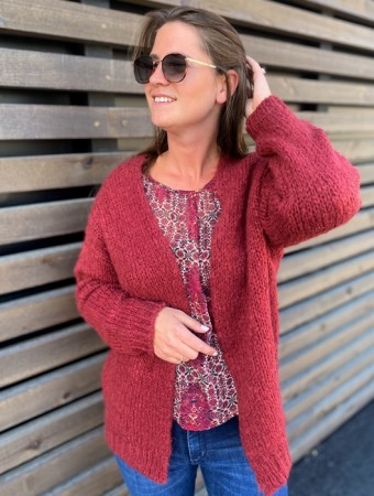 Noella Kala Knit Cardigan - Bordeaux