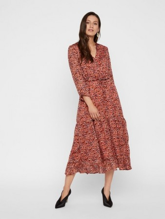 Y.a.s Etruscan Red - Yascabana 3/4 Long Dress Ft