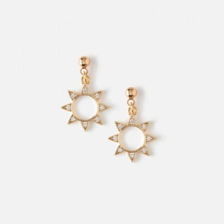Orelia Pale Gold Crystal Sun Drop Stud Earrinfs