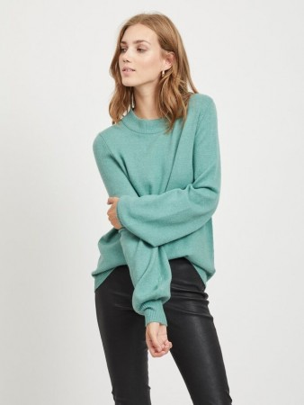 Vila Oil Blue Viril L/s Balloon Knit Top - Fav Nx