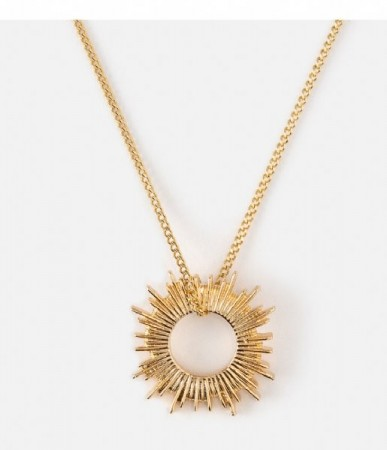 Orelia Pale Gold Open Sunburst Short Necklace