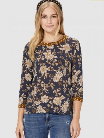 Rich & Royal Deep Blue Longsleeve With Flower Print