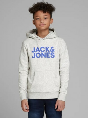 Jack & Jones Light Grey Melange Jjecorp Logo Sweat Hood  Noos Jr