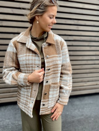 Noella Camel Checks Viksa Jacket, Wool