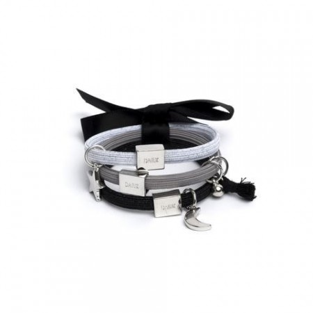 Dark Black W/silver 3pk Hair Ties W/charms
