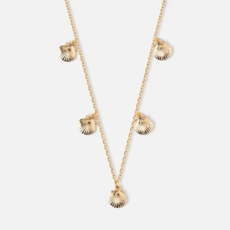 Orelia Pale Gold Mini Shell Multi Drop Necklace