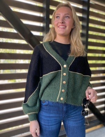 Bytimo Green Combo Golden Knit Cardigan