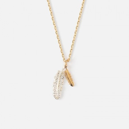 Orelia Pale Gold Double Feather Ditsy Necklace
