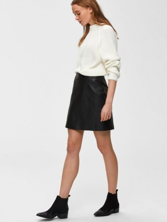 Selected Femme Black Slfbimi Mw  Leather Skirt B
