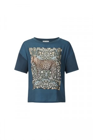 Rich & Royal Petrol Blue T-shirt With Leopard Print