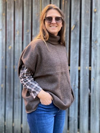 Dear Dharma Brown Wool Haley Poncho