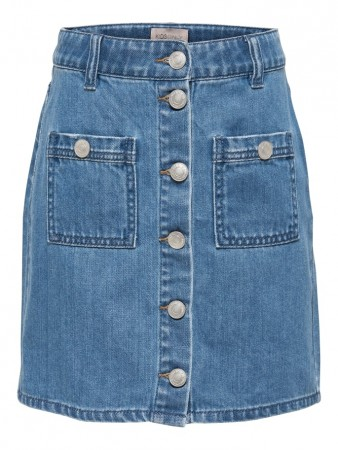 Only Light Blue Denim Konpaige Button Dnm Skirt