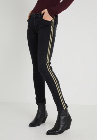 Rich & Royal Denim Black Midi - Glitter Stripe - Pant