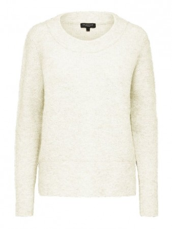 Selected Femme Snow White - Slfsif Ls Knit O-neck B