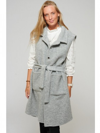 Noella Light Grey Viksa Long Waistcoat