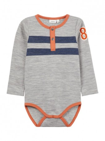Name It Grey Melange Nmmwuppo Wool/co Ls  Body