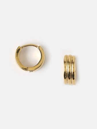 Orelia Gold Triple Methal Huggie Hoops