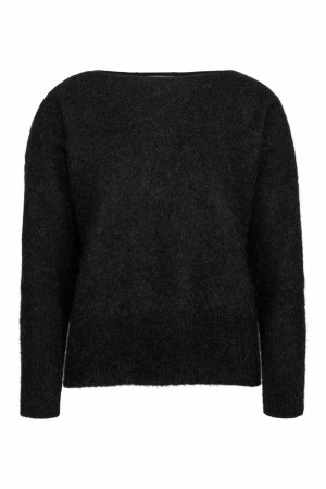 Cathrine Hammel Black Soft Wide Crewneck