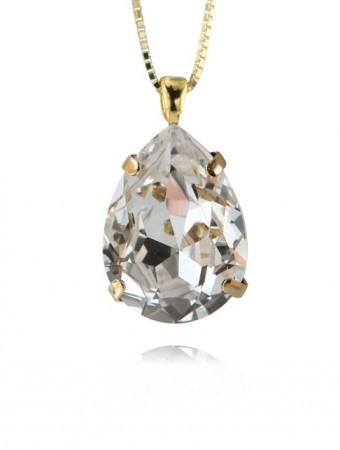 Caroline Svedbom Crystal 001 Classic Drop Necklace Gold